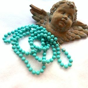 "Jewelry - Long 30"" teal string of beads necklace"